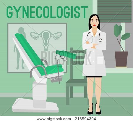 Gynecologist in her office wating for a patient. Vector illustration in flat style. Beautiful image useful for gynecology, healthcare, medicine or women pregnancy design.