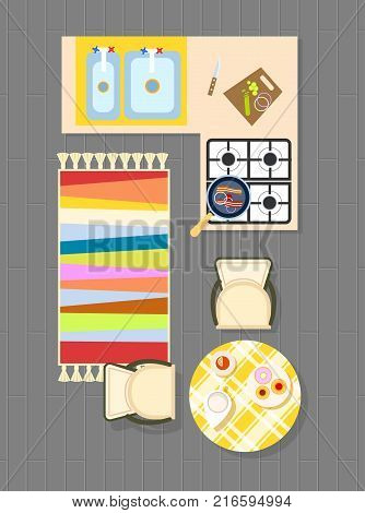 Kitchen planning representing carpet on grey floor, cooker and counters, sinks and cutting board, table and chairs on vector illustration