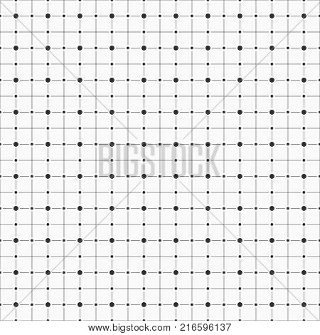 Vector seamless pattern. Repeating geometric background with lines and dots. Dots in nodes. Geometry pattern grid. Modern stylish monochrome texture.