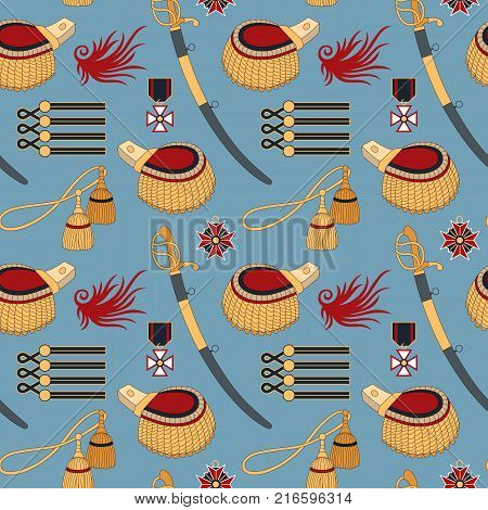 Seamless pattern with sabers, epaulettes and medals. Can be used for graphic design, textile design or web design.
