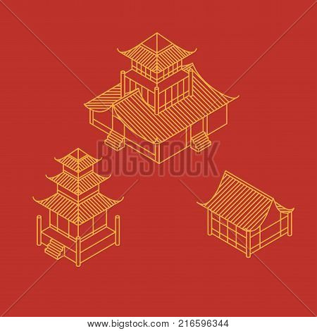 A set of architectural elements in Oriental style. Outline Isometric Pagoda house. Chinese and japanese landmark