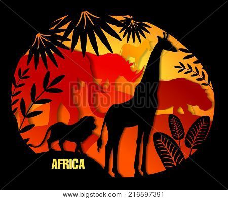 Vector illustration of paper art. African animals elephant giraffe lion rhino hippo zebra. Leaf of palm exotic plants. Black and color. Template for design of text cover tutorial for children