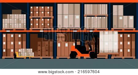Industrial warehouse interior with goods and pallet trucks storage and logistics concept