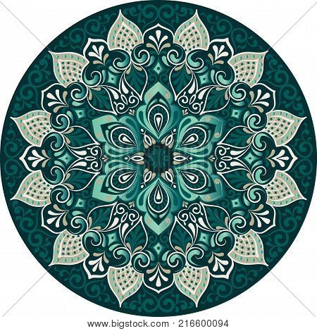 Drawing of a floral mandala with green colors on a white background. Hand drawn tribal vector stock illustration