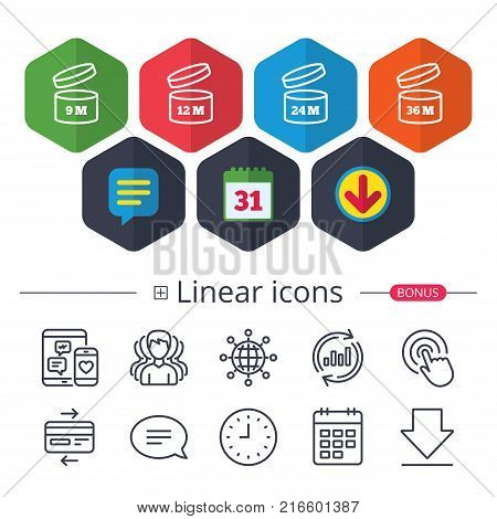 Calendar, Speech bubble and Download signs. After opening use icons. Expiration date 9-36 months of product signs symbols. Shelf life of grocery item. Chat, Report graph line icons. More linear signs