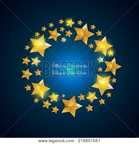 Happy New Year and  Christms Background with Golden Stars. Vector Illustration EPS10
