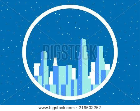 Winter city with skyscrapers. Snow-covered metropolis the outlines of buildings. Vector illustration