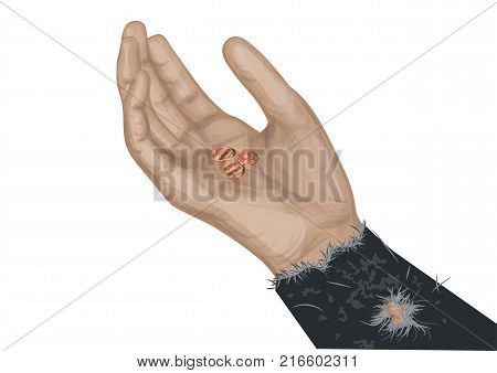 hand of beggar with coins isolated on white