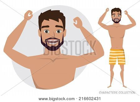 The guy is happy and smiling. Cartoon style man. Emotion of joy and glee on the man face. The man portrait. Men in a beach swimming trunks