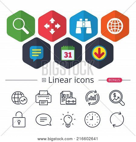 Calendar, Speech bubble and Download signs. Magnifier glass and globe search icons. Fullscreen arrows and binocular search sign symbols. Chat, Report graph line icons. More linear signs. Vector