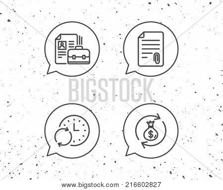 Speech bubbles with signs. Portfolio, Money bag and Attachment file line icons. Update time and Businessman case symbols. Grunge background. Editable stroke. Vector