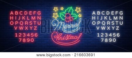 Merry Christmas, welcome card, done in neon style isolated. Neon sign on the Christmas theme. Bright banner, bright festive night sign. Vector illustration. Editing text neon sign.