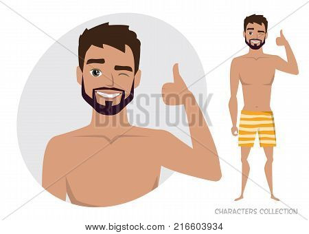 Positive guy smiling and recommended. Happy man in a beach swimming trunks. Laughing man showing thumbs up.