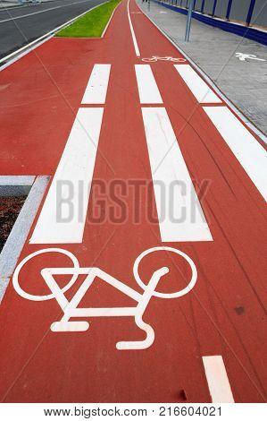 red bike path in St. Petersburg near the stadium poster
