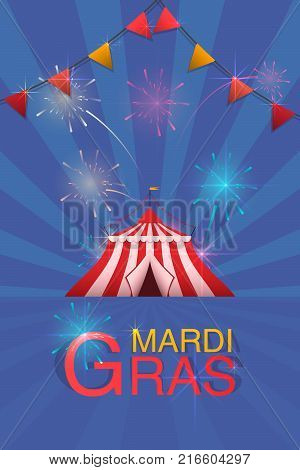 Carnival And Fun Fair Flyer Template. Vector Logo With A Painted Tent And Fireworks.