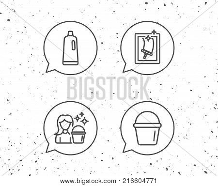 Speech bubbles with signs. Window Cleaning, Shampoo and Maid equipment line icons. Bucket and Housekeeping service signs. Grunge background. Editable stroke. Vector