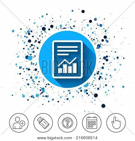 Button on circles background. Text file sign icon. Add File document with chart symbol. Accounting symbol. Calendar line icon. And more line signs. Random circles. Editable stroke. Vector