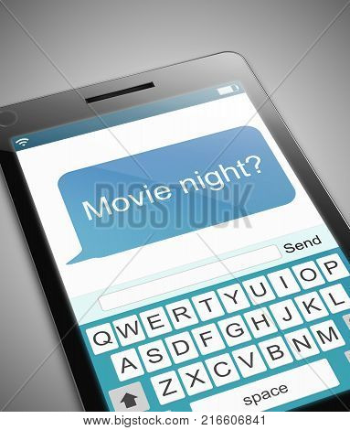 3d Illustration depicting a phone with a movie night message concept.