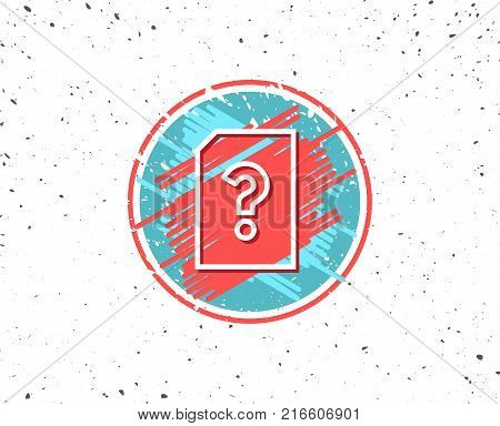 Grunge button with symbol. Unknown Document line icon. File with Question mark sign. Untitled Paper page concept symbol. Random background. Vector