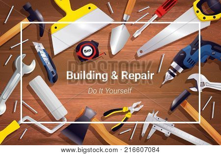 House renovation repair woodwork carpentry tools realistic background poster frame with hammer handsaw screwdriver chisel vector illustration