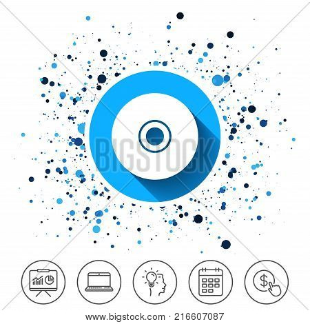 Button on circles background. CD or DVD sign icon. Compact disc symbol. Calendar line icon. And more line signs. Random circles. Editable stroke. Vector