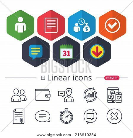 Calendar, Speech bubble and Download signs. Bank loans icons. Cash money bag symbol. Apply for credit sign. Check or Tick mark. Chat, Report graph line icons. More linear signs. Editable stroke