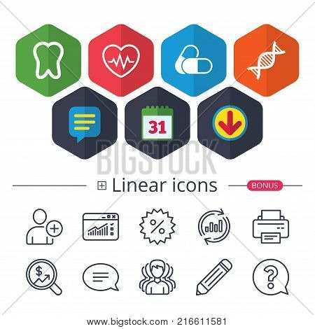 Calendar, Speech bubble and Download signs. Maternity icons. Pills, tooth, DNA and heart cardiogram signs. Heartbeat symbol. Deoxyribonucleic acid. Dental care. Chat, Report graph line icons. Vector