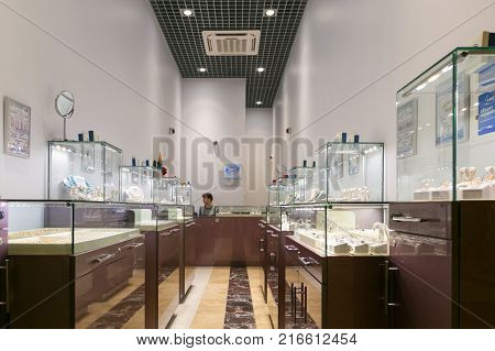 Petersburg, Russia - July 1, 2017: Shopping Entertainment Center Piter Park. Jewelry Shop.