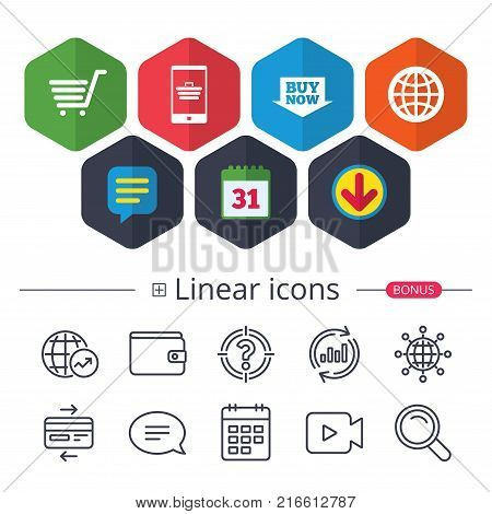 Calendar, Speech bubble and Download signs. Online shopping icons. Smartphone, shopping cart, buy now arrow and internet signs. WWW globe symbol. Chat, Report graph line icons. More linear signs