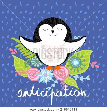 vector illustration of a cartoon happy penguin. Anticipation.