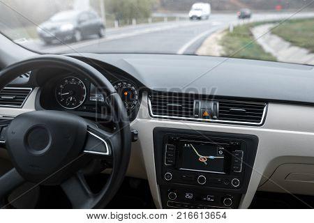 Car navigation system in modern car interior