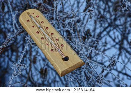 A wooden thermometer lies on the branches of plants in frost and snow