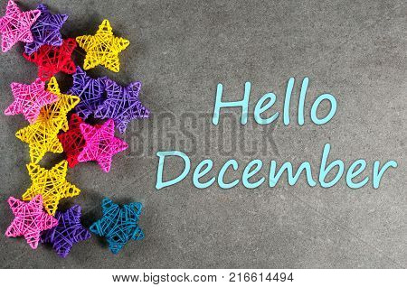 hello december, welcome winter greeting card frame of Winter and Christmas decor Poster.