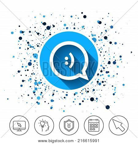 Button on circles background. Chat sign icon. Speech bubble with smile symbol. Communication chat bubbles. Calendar line icon. And more line signs. Random circles. Editable stroke. Vector