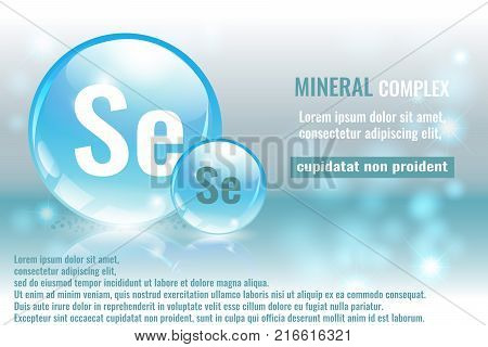 Mineral se Selenium complex with chemical element symbol. Pharmaceutic medical background with space for text.