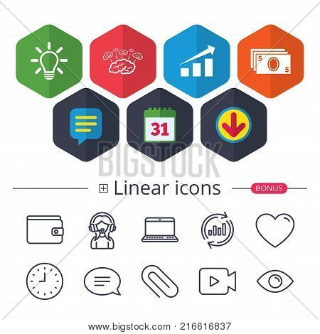 Calendar, Speech bubble and Download signs. Chart with arrow, brainstorm icons. Cash money and lamp idea signs. Scheme and Diagram symbol. Chat, Report graph line icons. More linear signs. Vector