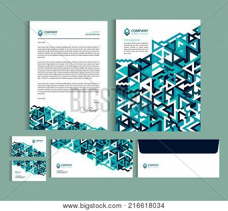 Business identity design templates. Stationery set - Letterhead A4 template name card (35 x 2) envelope (8.66 x 4.33) presentation folder(9 x 12) with geometric pattern. Vector illustration.