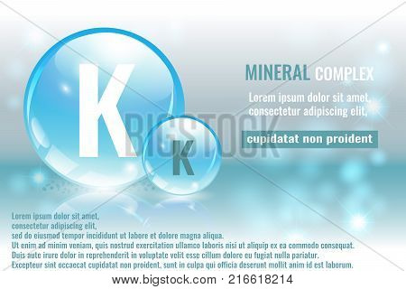 Mineral k Kalium complex with chemical element symbol. Pharmaceutic medical background with space for text.