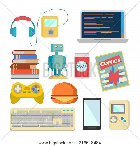 Nerd Items Set Vector. Geek Accessories. Headphones, Player, Laptop, Robot, Toy, Phone Keyboard Tetris Comics Soda Burger Books Isolated Illustration