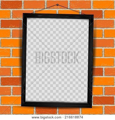Wooden rectangular art vertical frame with shadow on transparent red old brick wall background. Modern border shape photo interior furniture framework. Portfolio template