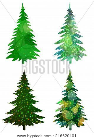 Set of Green Holiday Christmas Trees, Winter Symbols with Colorful Patterns, Isolated on White Background. Eps10, Contains Transparencies. Vector