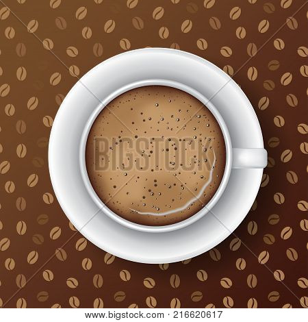 White mug of coffee with saucer coffee foam and bubbles. Top view realistic vector. Seamless coffee grains pattern