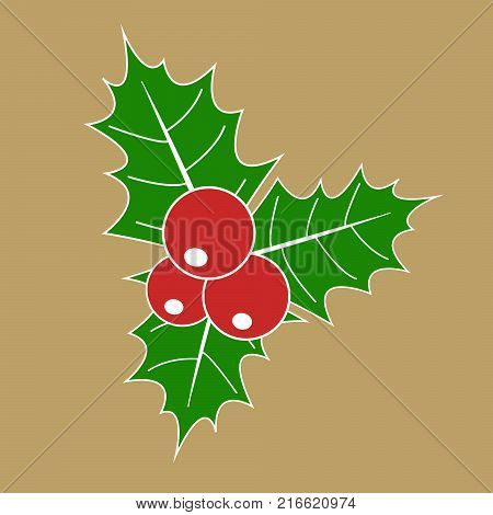 christmas holly berry with red berries and green leaves (Ilex aquifolium) isolated on golden background