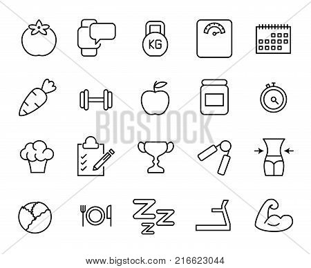 Simple collection of obesity related line icons. Thin line vector set of signs for infographic, logo, app development and website design. Premium symbols isolated on a white background.