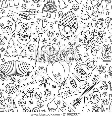Russia thin line icons seamless background abstract pattern. Vector collection Russian culture signs, Moscow Kremlin, Cathedral, russian doll matryoshka, balalaika, samovar, bear. Isolated white.