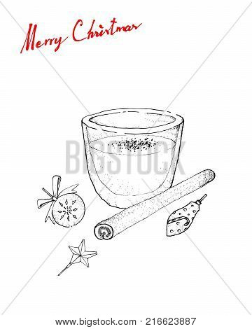 Illustration Hand Drawn Sketch of Eggnog or Egg Milk Punch Made with Milk, Cream, Sugar, Whipped Egg Whites, Egg Yolks, Cinamon and Grated Nutmeg for Christmas Season.