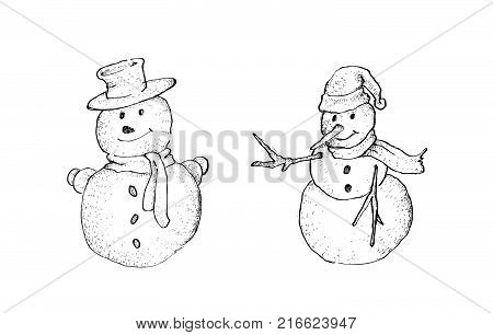 Illustration Hand Drawn Sketch Collection of Two Cute Classic Snowman, An Anthropomorphic Snow Sculpture Often Built by Children in Christmas Season.
