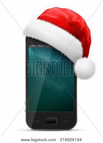Smartphone in red Santa Claus hat. Christmas hat is put on mobile phone. Best vector illustration for christmas smartphone new years day mobile technology winter holiday communication