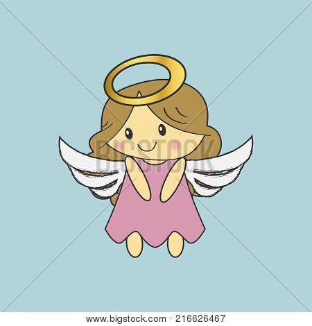 Angel with wings and a golden halo. Christmas cute angel. Vector illustration.