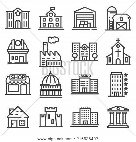 Set of public government and commercial city buildings and institutions. Vector illustration